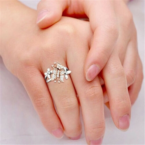 Exquisite Women Two Butterfly Flower Silver Color Crystal Floral Ring Jewelry L