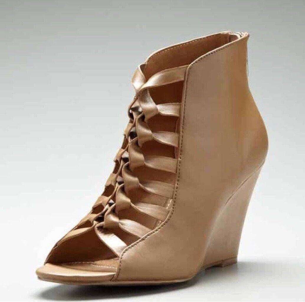 NEW Kelsi Dagger Tan Leather  Ankle Boot Sandal Zipper Gladiator Size 6.5 M