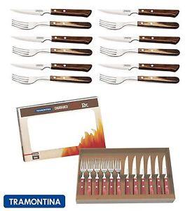 Details about Tramontina Churrasco Premium Wood Steak Knife Knives Fork Set  of 12, 2 Colours