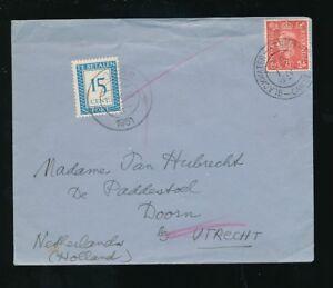 NETHERLANDS-POSTAGE-DUE-1951-from-GB-BLACKWATER-SURREY-DOORN-15c