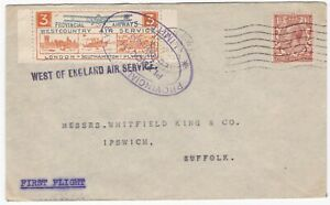 1933-WEST-OF-ENGLAND-AIR-SERVICE-PROVINCIAL-AIRWAYS-3d-STAMP-TO-WHITFIELD-KING