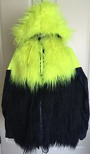 Nike Lab Sacai Windrunner Faux Fur Womens Blue/yellow Jacket, Size XL
