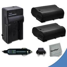 2 EN-EL15 ENEL15 Batteries + Quick AC/DC Charger for Nikon D600 DSLR Camera