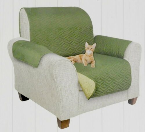"""Reversible Quilted Armchair Furniture Protector 75/"""" x 65/"""" Olive Green /& Sage"""