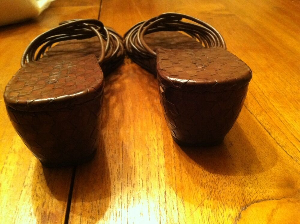 EUC Damenschuhe Cole Haan 8B New Damenschuhe EUC Braun Wedge Heel Slide Sandales Schuhes d195f8