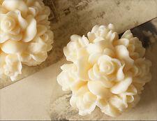 2x resin cabuchons flores para pegar 29mm crema tm211