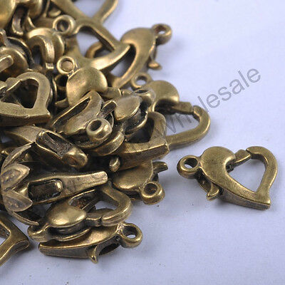 Gold & SILVER PLATED, Bronze, Copper,  Metal HEART Lobster Clasps Hooks 12X9MM