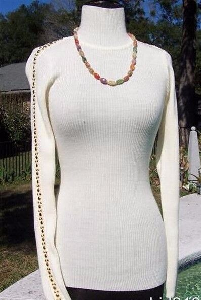 Cache Moc Turtle Neck Metal Studs Down Sleeve Top New XS S M L Stretch  NWT