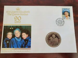 Numisbrief Isle of Man Queen Mother 1 Crown Münze stgl. 1990 Coin Cover N. 4 RAR - Magdeburg, Deutschland - Numisbrief Isle of Man Queen Mother 1 Crown Münze stgl. 1990 Coin Cover N. 4 RAR - Magdeburg, Deutschland