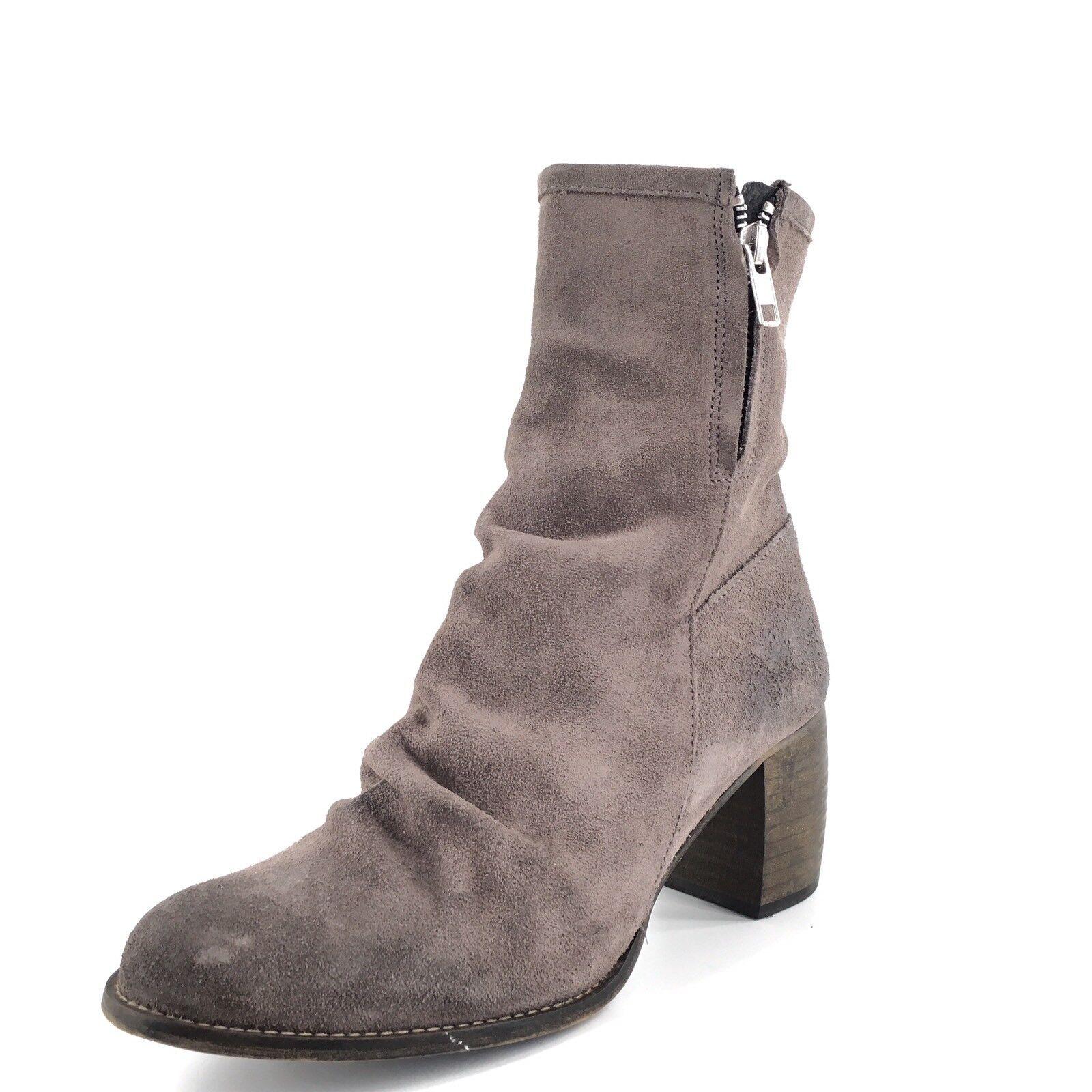 Jeffrey Campbell Ruched Grey Suede Zip Short Zip Boots Women's Size 7.5 M