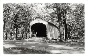 D78-Crown-Point-Indiana-In-Real-Photo-RPPC-Postcard-Covered-Bridge-c1950s-2