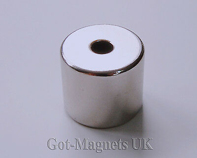 Pack 1 N48 Neodymium Cylinder Disc Magnet 23mm dia x 20mm Central Hole 6mm Hole