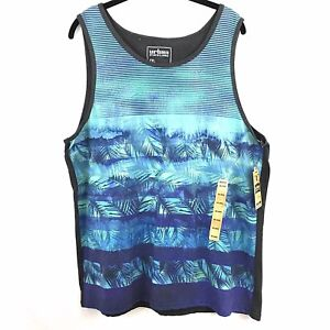 a8495bd4285631 Urban Pipeline Tropical Tank Top Size XXL Blue Palm Gray Solid Back ...