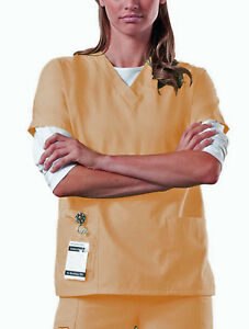 Scrub-Top-NEW-Yellow-M-Medium-Unisex-Nursing-Medical-Uniform-Men-039-s-Women-039-s-A85