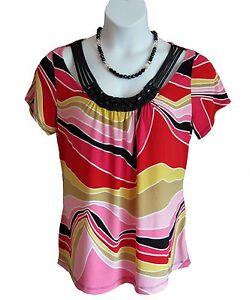 Graphic-Retro-Knit-Shirt-Plus-Size-14W-16W-0X-Top-Multi-Jewel-MOD-Embellished
