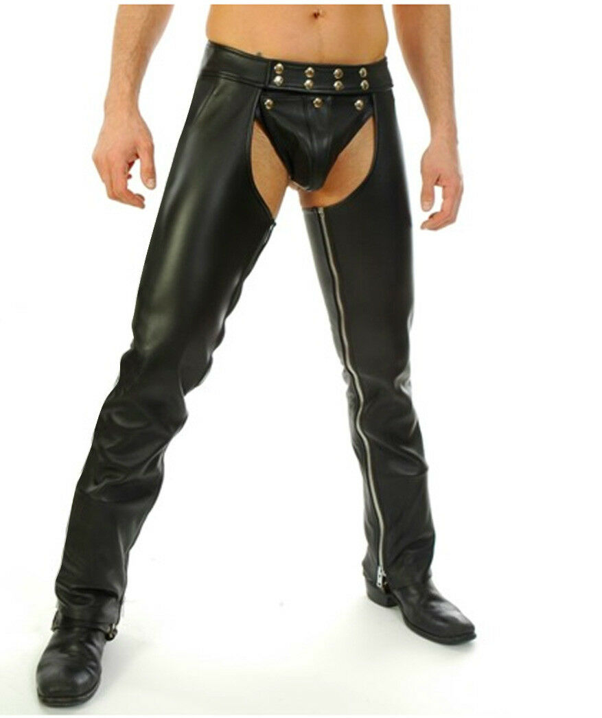 Men's Real Leather Chaps With Detachable Codpeice Leather Gay Chaps
