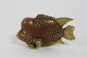 Skulptur-Figur-Bronze-teilpoliert-Fisch