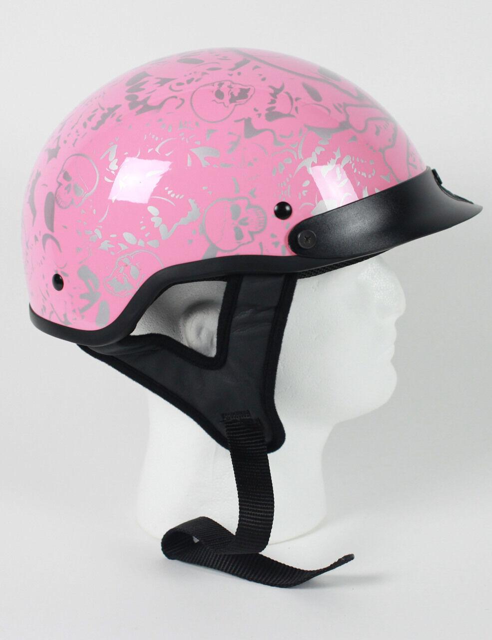 DOT VENTED PINK BONEYARD LADIES MOTORCYCLE HALF HELMET BEANIE HELMETS SHORTY