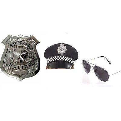 Mens Instant Kit Policeman PC Hat Glasses Badge Cop Fancy Dress Costume Stag Fun