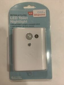 Walgreens Motion Activated LED Toilet Nightlight 7 bright or dimmable colors NEW