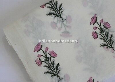 Cotton Voile Fabric Hand Block Print Indian Dressmaking Crafting material By 1 Y