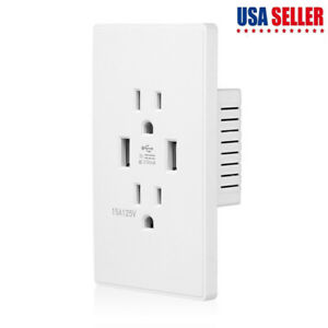 Dual-USB-Wall-Outlet-Charger-Port-Socket-with-15A-Electrical-Receptacles-White