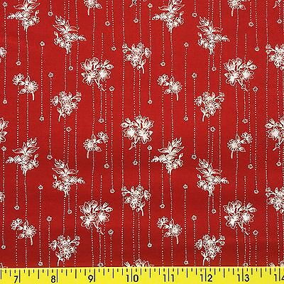 ETCHINGS cotton fabric sewing quilting BORDER STRIPE FLORAL white on red 1yd,14""