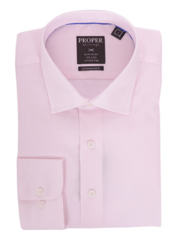 Mens 16.5 34//35 Slim Fit Pink Striped Spread Collar Wrinkle Free 100 2 Ply Co...