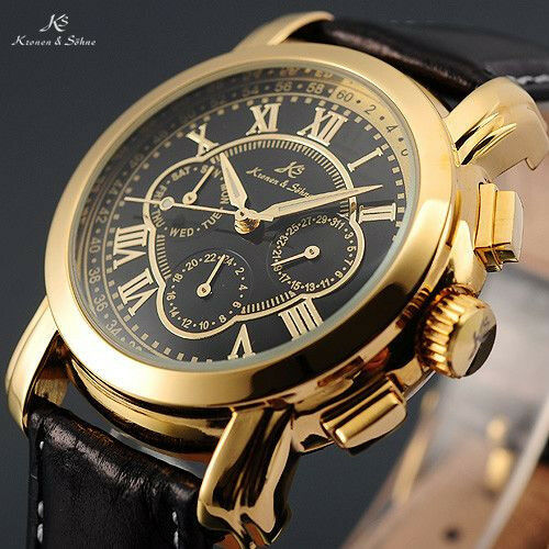 KS Mens Automatic Mechanical Date Day Black Leather 6 Hands Sport Wrist Watch
