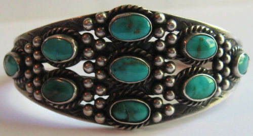 VINTAGE NAVAJO INDIAN SILVER MULTI STONE TURQUOISE CUFF BRACELET