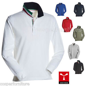 Polo-cotone-piquet-manica-lunga-tricolore-Italia-Payper-Long-Nation-fino-5xl