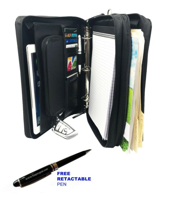 Leatherette 3 RING BINDER FOLDER PORTFOLIO ORGANIZER PLANNER /& BRIEFCASE HANDLE