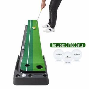 Abco Tech Golf Putting Green Portable Practice Mat Indoor Auto Ball Return 9.85'