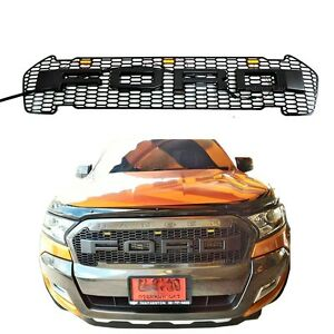 2 pieces black led grille grill fit new ford ranger t7. Black Bedroom Furniture Sets. Home Design Ideas