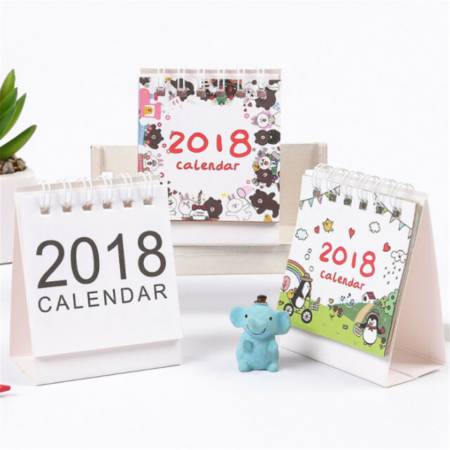 2018 cartoon animal desk desktop calendar flip stand table office planner memo