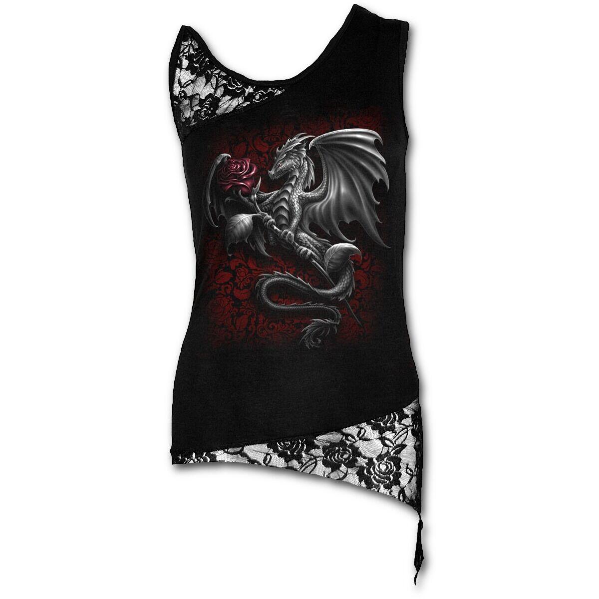 Spiral Direct Soaring DRAGON Rosa Shoulder Lace Vest Top Rosa Rock Metal Tee