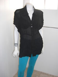 Style-amp-Co-Stretch-Womens-Beautiful-Black-Button-Front-Short-Sleeve-Blouse-Sz-20