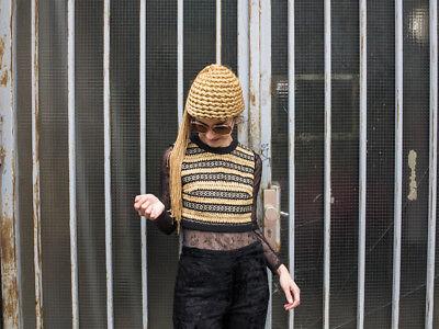 Nuova Moda Donna Gilet Häkelweste Oro Nero Glitter 90s True Vintage Woman Haagse Crochet-mostra Il Titolo Originale