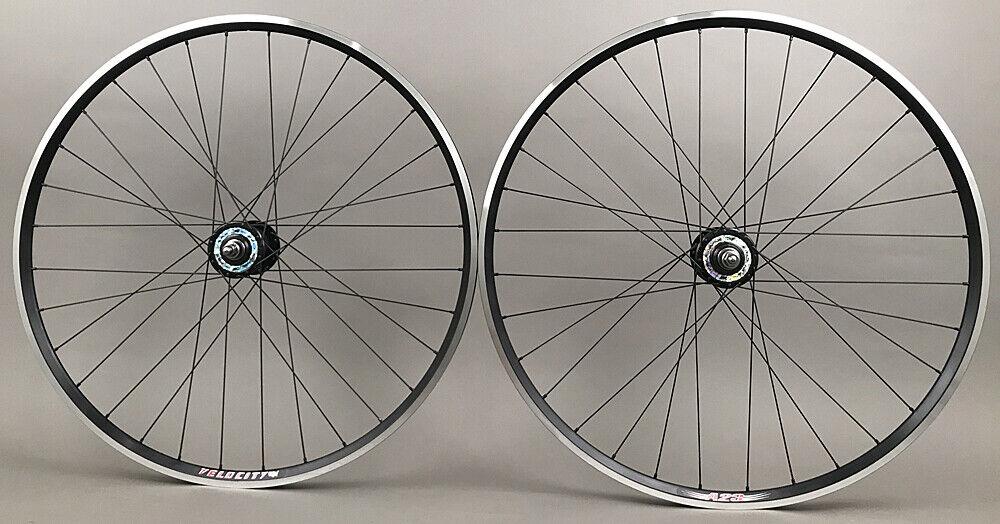 Image 1 - Velocity A23 Black Rims Suzue Hubs Single Speed Track Fixed Gear Bike Wheelset