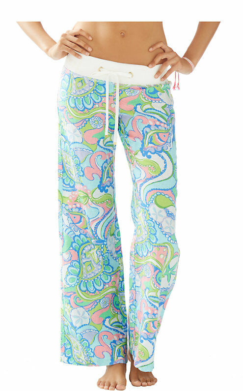 NEW Lilly Pulitzer Beach Pants Linen Multi Conch Republic Pink bluee White XS