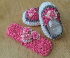 Handmade Crochet Baby Girl Booties, Head Band Set White & Pink  Newborn 3 Months