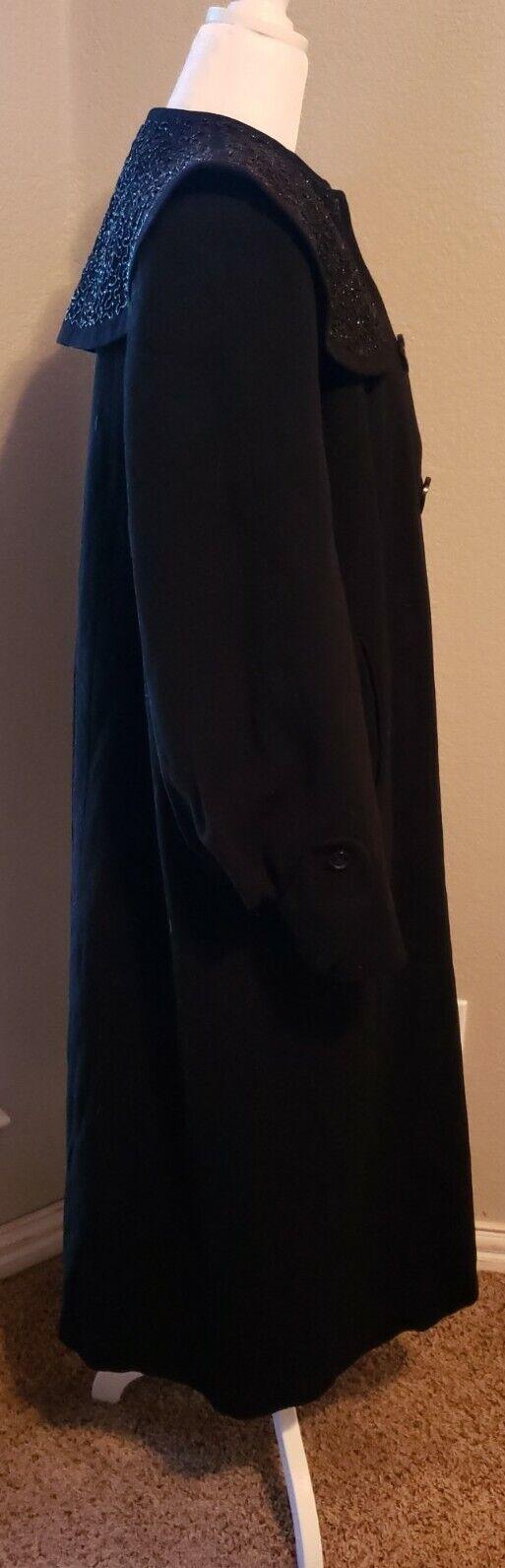 Vtg 40's 50's Mademoiselle Inc Wool Black Beaded … - image 6