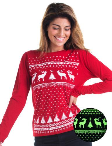 Glow in the Dark Reindeer Womens Long//S T-shirt Alternative Christmas Jumper