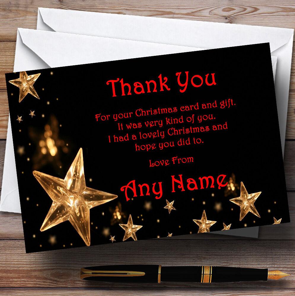 Étoiles dorées Rouge Fête Personnalisé Fête Rouge de Noël cartes remercieHommes t 5c5111