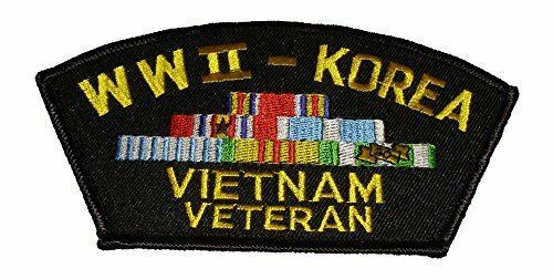 WORLD WAR TWO 2 WWII KOREA VIETNAM VETERAN WITH CAMPAIGN SERVICE RIBBONS PATCH