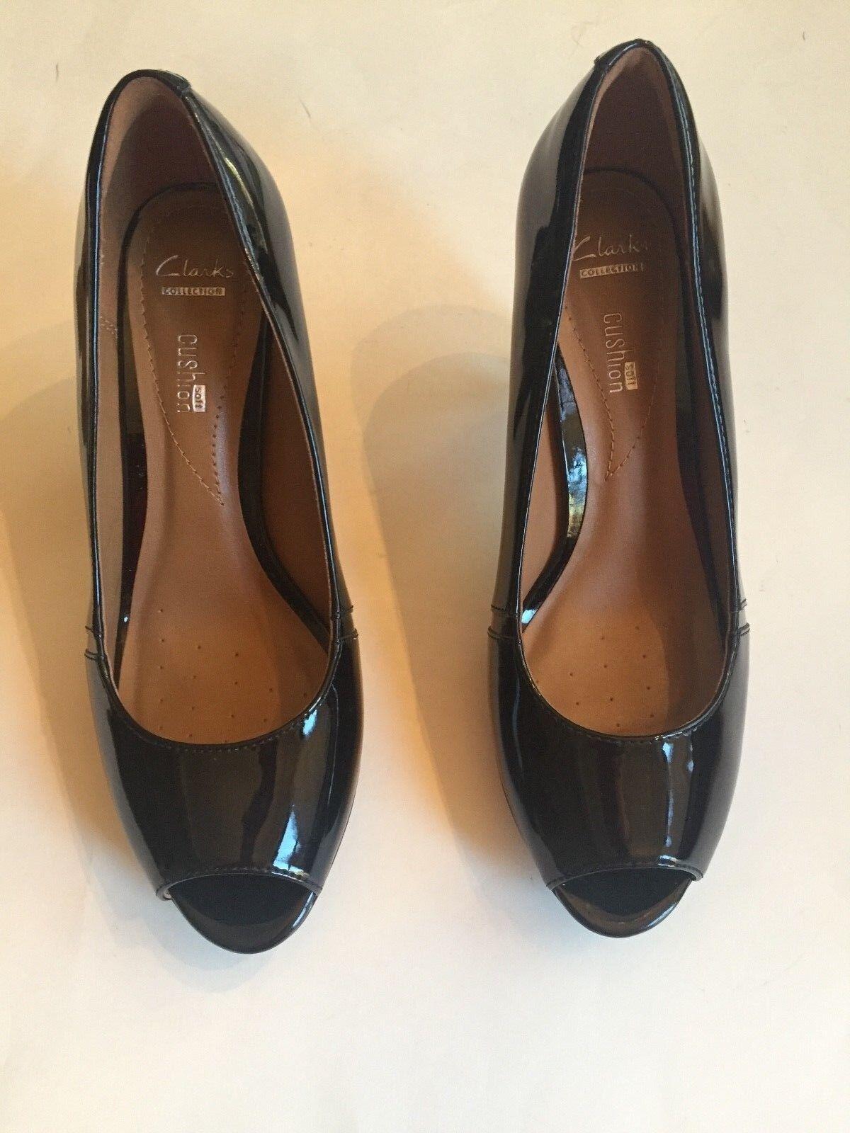 CLARK'S - Noir Cuir verni talon-Neuf, jamais porté