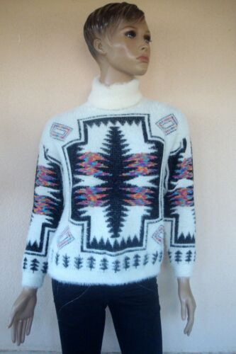40 Neuf Ethnique Blanc Coloree 36 38 T Pull Polaire M qUIwCn4Czx