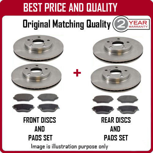 FRONT AND REAR BRAKE DISCS AND PADS FOR CITROEN BX 1.6 8/1983-5/1993