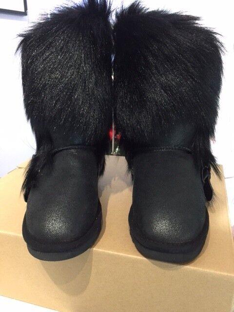 Mou Eskimo Negro Envuelto Piel De Cabra botas /38 -! totalmente Nuevo!