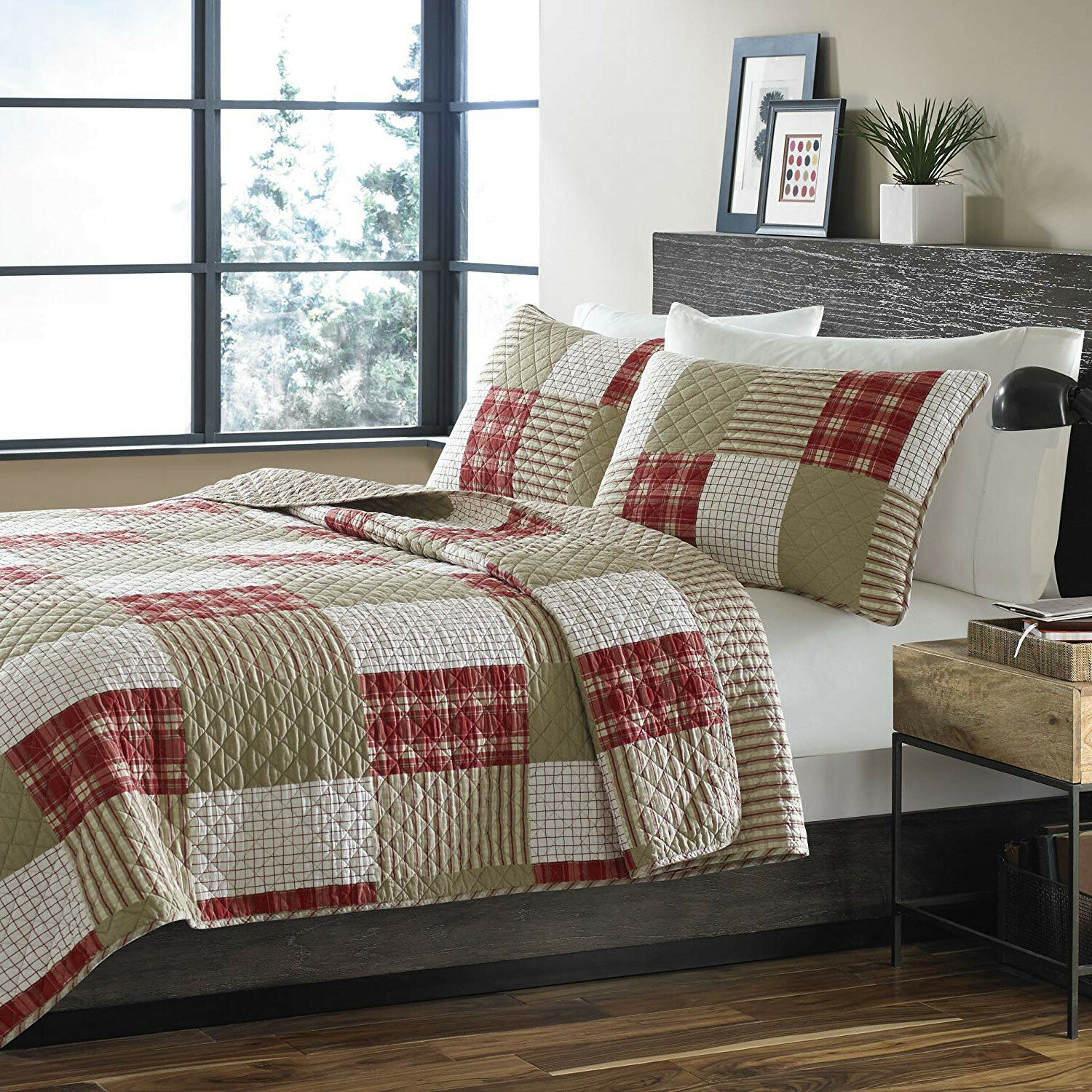100% Cotton rosso Khaki Quilt Patchwork Plaid Coverlet King Queen 3 pcs